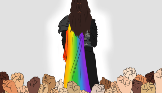 Lexa with a rainbow cloak, and fists of many colors supporting her