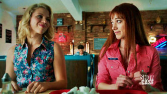 A picture of Ali Liebert with Zoie Palmer on Lost Girl