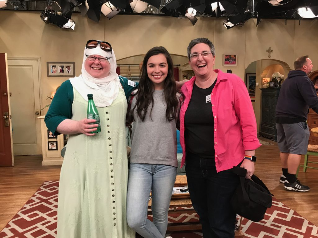 Judith, Isabella Gomez, and Mika (Ipstenu) on the set of One Day At A Time