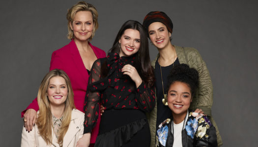 "THE BOLD TYPE - Freeform's ""The Bold Type"" stars Meghann Fahy as Sutton Brady, Melora Hardin as Jacqueline Carlyle, Katie Stevens as Jane Sloan, Nikohl Boosheri as Adena El Amin, and Aisha Dee Kat Edison. (Freeform/Ed Herrera)"