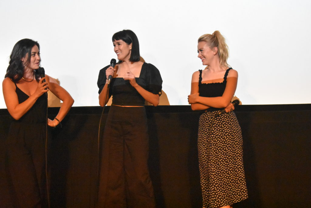 Kim Laferrier, Zoë Chao, and Meredith Hagner at Outfest