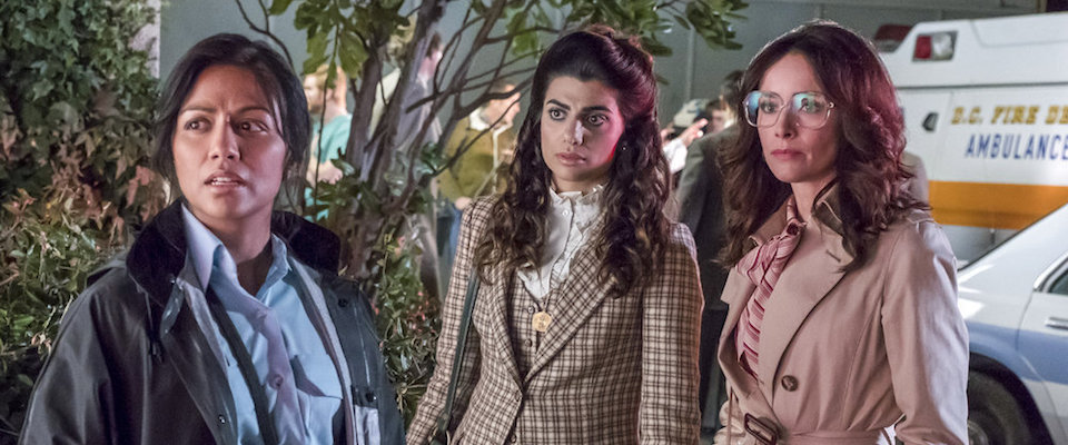 "TIMELESS -- ""The Day Reagan Was Shot"" Episode 208 -- Pictured: (l-r) Karen David as Young Denise Christopher, Claudia Doumit as Jiya, Abigail Spencer as Lucy Preston"