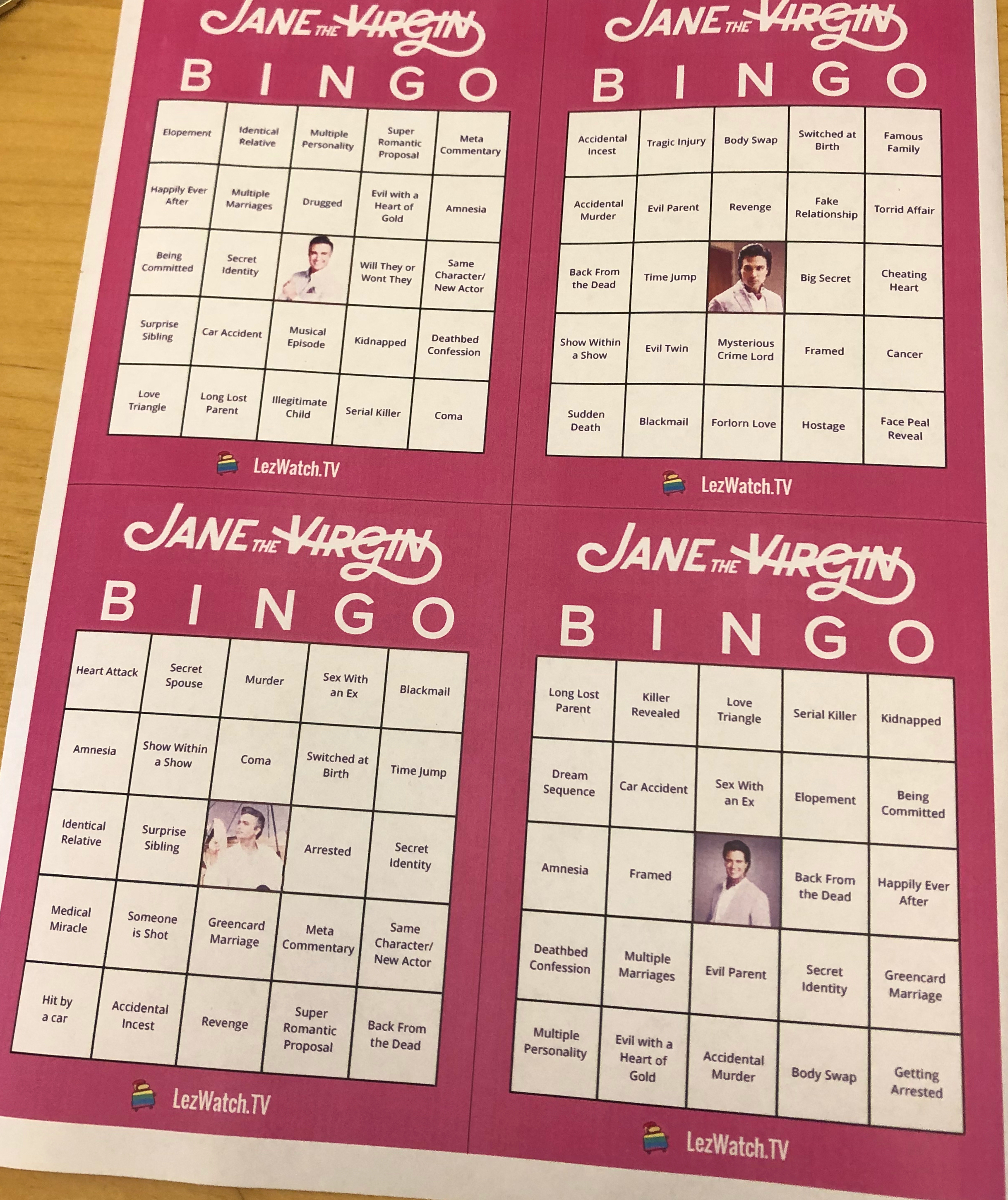 Sample of the Jane The Virgin Bingo.