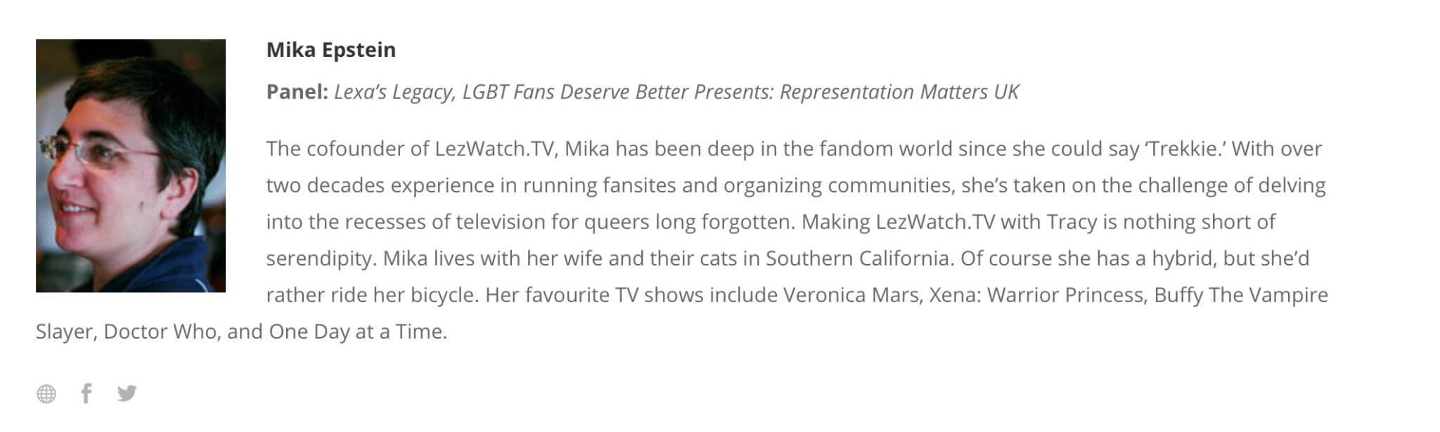 Mika's Bio which is the same as you'd see on this site. It also lists the panels I'll be on.