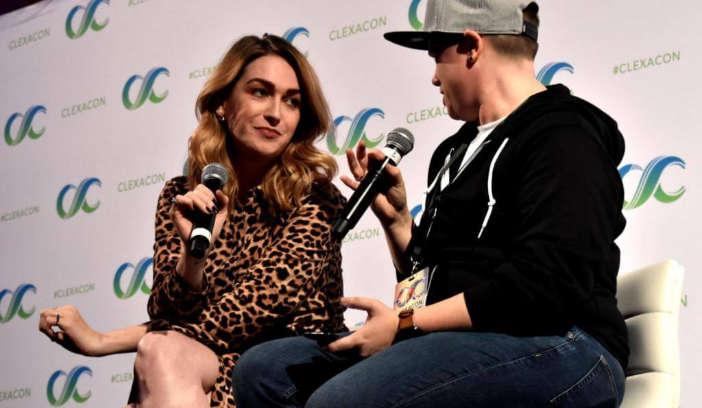 Jamie Clayton (l) being interviewed by Jess H-D (r)