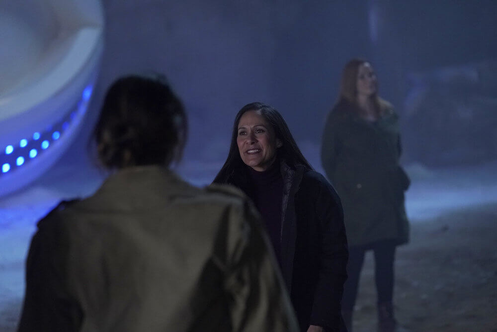"TIMELESS -- ""The Miracle of Christmas Part II"" Episode 212 -- Pictured: Sakina Jaffrey as Denise Christopher -- (Photo by: Chris Haston/NBC)"