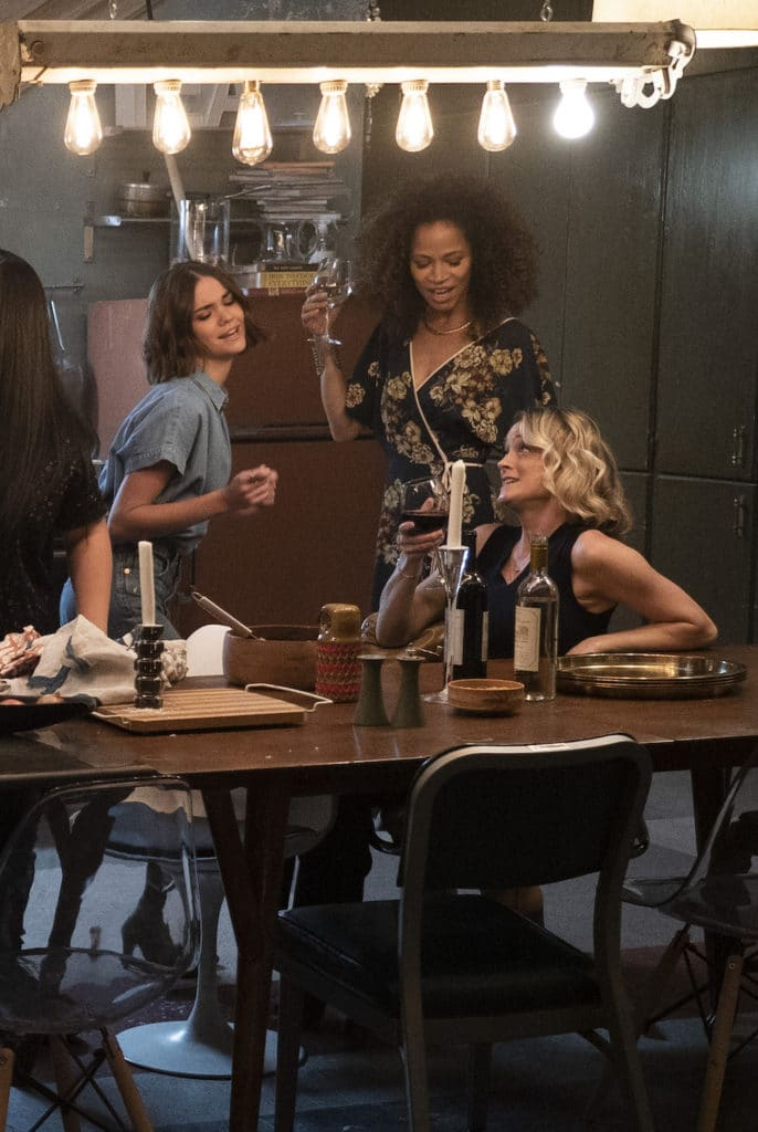 "GOOD TROUBLE - ""Parental Guidance Suggested"" - Callie and Mariana's moms visit their new digs, but even with all the Coterie residents on their best behavior things get out of hand. Meanwhile, Dennis reveals a shocking truth about his past. This episode of ""Good Trouble"" airs Tuesday, Feb. 5 (8:00 - 9:01 P.M. EST) on Freeform. (Freeform/Eric McCandless) MAIA MITCHELL, SHERRI SAUM, TERI POLO"