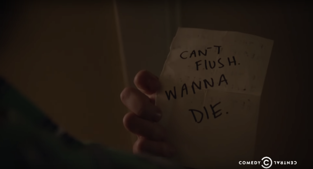 Note reads: Can't Flush. Wanna die.