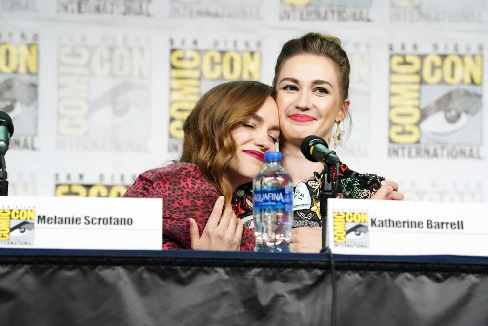 "COMIC-CON INTERNATIONAL: SAN DIEGO -- ""Wynonna Earp Panel"" -- Pictured: (l-r) Melanie Scrofano, Katherine Barrell -- (Photo by: Evans Vestal Ward/SYFY)"