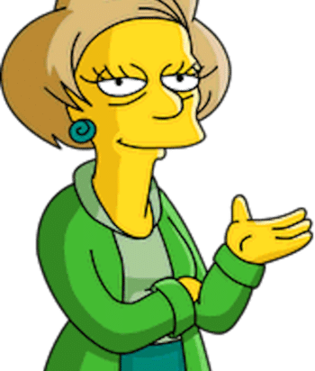 A picture of the character Edna Krabappel