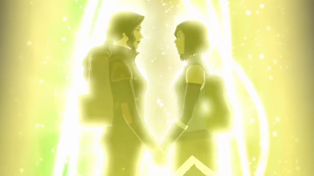 Asami and Korra looking into each other's eyes as they're about to step into the spirit world.