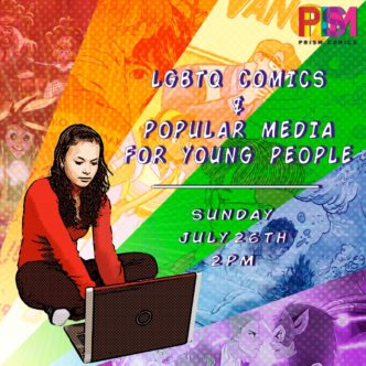 Poster from the SDCC panel for LGBTQ Comics and Popular Media for Young People